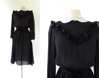 American Gothic Dress / 1980s Dress / Peter Pan Collar Dress / Small S