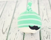 newborn to 3 month baby hat //boy photo prop // newborn photography // mustache // baby boy hat // mint green // baby shower gift // RTS