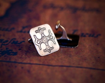 Sterling silver cross cuff links. Silver cuff links. French cuff. Square cuff links