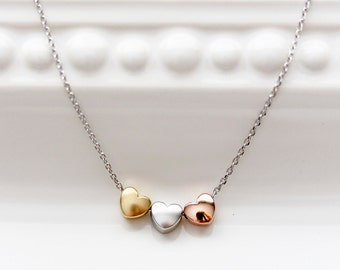 Three Hearts Necklace, Tri Tone Hearts Charm Silver Gold Rose Gold Necklace Bridal Bridesmaid Gift Wedding Heart Jewelry Love Dainty
