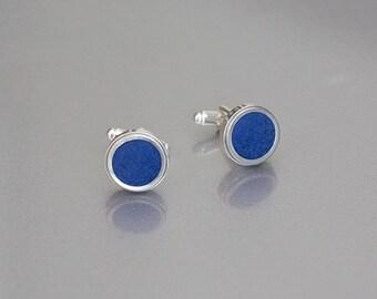 Royal blue cufflinks - Groom's cuff links with handmade wool felt - Unisex gift - Wedding set - Gift for dad