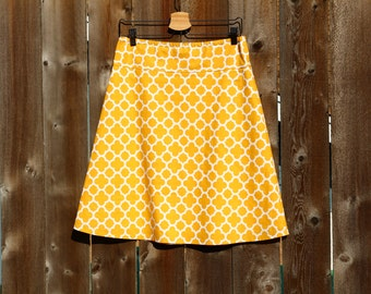 A Line Skirt, Geometric Quatrefoil in Mustard , Choose any color, Custom Made, Long or Short, All Sizes Petite to Plus