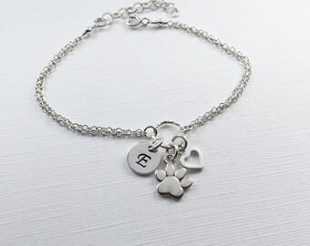 Personalized Paw Bracelet in Sterling Silver - Adjustable Personalized Paw Dog Cat Bracelet