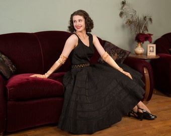 1950s Vintage Dress - Black Taffeta 50s Party Dress with Full Circle Skirt with Trapunto Accents