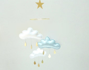 "Bestseller :Mobile ""ENZO"" White,light blue,White cloud mobile for nursery with gold star by The Butter Flying-Rain Cloud Mobile Nursery"