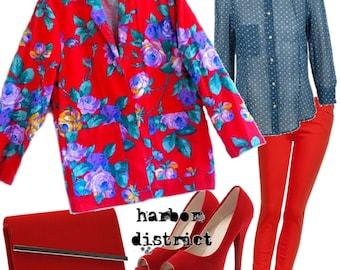 Vintage 70s Bright Floral Long Blazer - Size M/L