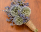 English lavender and echinops corsage, dried flower corsage, spring wedding, summer wedding, summer corsage, wildflowers, blue corsage