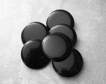 HuGE Black Vintage Plastic Buttons 34mm - 1 1/4 inch Smooth Glossy Black Shank Buttons - 6 VTG NOS  Plain Simple Classy Black Buttons PL074