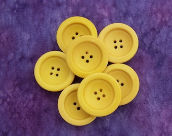 Yellow Coat Buttons, 27mm 1-1/8 inch - Bright Primrose Yellow Plastic Buttons - 7 VTG NOS Daffodil Yellow Concave Sew Through Buttons PL237