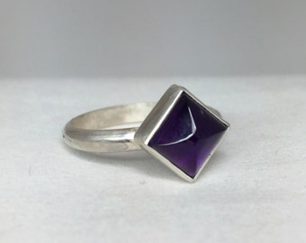 Amethyst Pyramid Ring in Sterling Silver