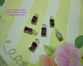 6 Tiny Art Deco Charms Vintage Swarovski Purple Amethyst SP Silver Prong-set Crystal Drop