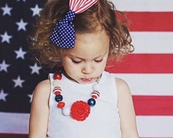 American Flag Bow - Stars and Stripes - Baby Hair Clip Headband - Toddler - Girl Hair Bow