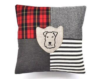 Terrier Print Patchwork Cushion - Red Tartan Colourway
