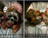 Custom Bride and Groom Zombie Undead Decayed Creepy Scary Halloween Horror Wedding Cake Topper Heads Prop Decorations - Handmade Dark Art