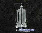 Doctor Who Logo Tardis w/ Bow Tie Etched Glass