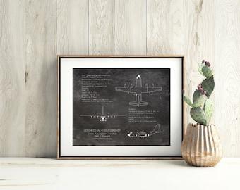 AC-130 Gunship airplane blueprint, AC-130U Spooky blueprint art, 3-view plane art print, military aircraft gunship blueprint, aviation decor