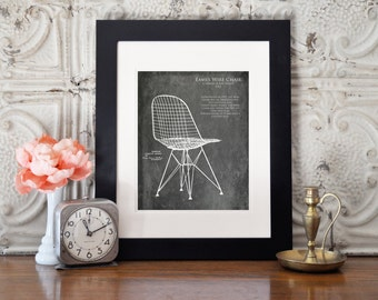 Eames Wire Chair Blueprint art print, interior design gift, gifts for her, wife gift, furniture blueprint, midcentury modern, christmas gift