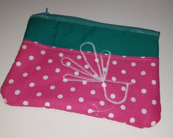 Zipper pouch, Unique with applique, pink polka dot, teal, lined pouch, cosmetic pouch, travel pouch