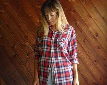 Levis Red Plaid Western Shirt - Vintage 70s - S M