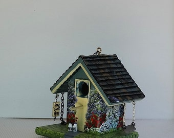 Home Sweet Home Birdhouse , with Milk and Cream Bottles , Swing , Opens for Clean Out , Environmentally Friendly