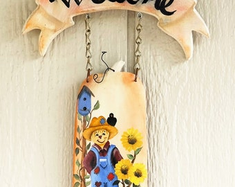 Wooden Fall Welcome Sign , Hand Painted