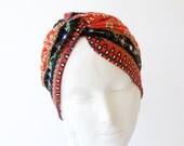 Women's Stretch Full Turban Hat Boho Chic Doo Rag 1940s Snood Cap Chemo Hat Hair Wrap Head Scarf Print Soft Turban Packable Hijab Tichel