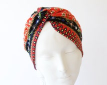 Women's Stretch Full Turban Hat Boho Chic Doo Rag 1940s Snood Cap Chemo Hat Hair Wrap Head Scarf Print Soft Turban Packable Hijab Tichel