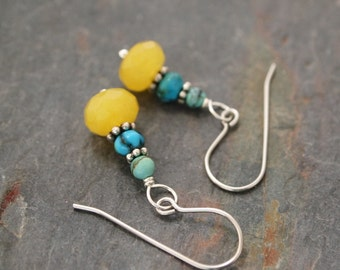 Turquoise and Yellow Jade Earrings