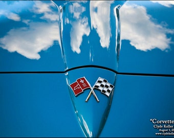 CORVETTE SKY, Sting Ray Hood, Clyde Keller Photo, Fine Art Print, Color, Signed, cloud reflections, Treasury