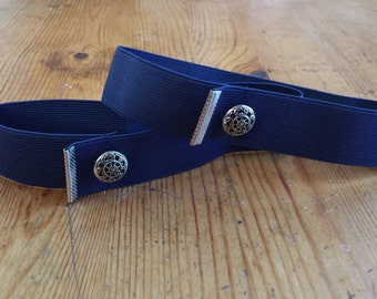 Shiny Silver Crimp Navy Sleeve Garters (pair)