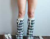 Striped Purple Green Sweater Recycled Sweater Legwarmers/ Boot Covers Leg Warmers Upcycled Boho Chic Gifts For Her