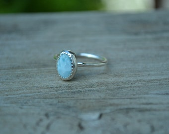 Larimar Sterling Silver Oval Stacking Ring size 7 1/4 can be made to order also
