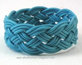 aqua blue paracord rope bracelet rope jewelry cuff bracelet turks head knot armband sailor rope bracelet 3905