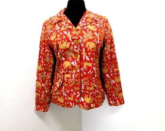 Vintage 70s Rust Red Lightweight Cotton Jacket Blazer Short Waist Elephant Cheetah Ram Bird Animal Print S Small M Medium