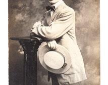 vintage Photo Postcard Handsome Man Straw Hat Bow Tie RPPC 1914