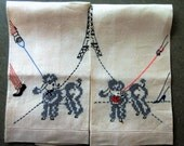 Vintage His and Hers Towels, Vintage Towels, Poodle Towels, Eiffel Tower, Hand Towels, Cross Stitched Towels, Linen Hand Towels Mr. and Mrs.