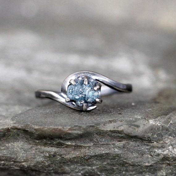 raw blue diamond ring uncut rough diamond gemstone diamond