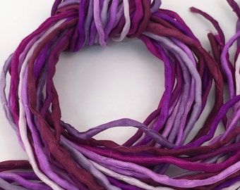 SALE Priced Silk Ribbon Cord Bundle Item No.360 Contains Ten 2mm Silk Ribbons Random Colors