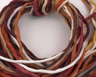 Hand Painted Silk Cord - Hand Dyed Silk - Silk Ribbon - Jewelry Supplies - Wrap Bracelet - Craft Supplies - 2mm Silk Cord Item No.378