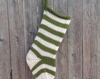 Green Wool Knit Christmas Stocking, Personalized Christmas Stocking, Knitted Christmas Stocking, Rustic Christmas Stocking