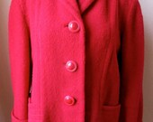40's Cherry Red Bouclet Swing Jacket with Cool Glitter Coat Buttons
