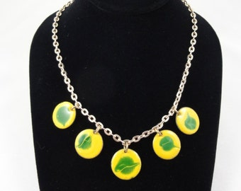 Vintage Yellow & Green Enameled Copper Necklace, Polka Dot Charms Gold Chain Necklace- Handmade Vintage Mid-Century Mod Jewelry 1960s