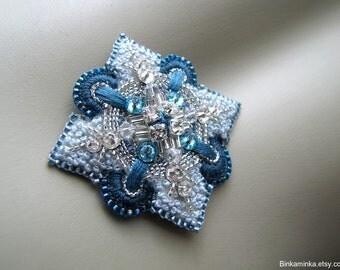 Light Blue Brooch Teal Beaded Pin Bead Embroidery Brooch French Knot Brooch Needlework Brooch Swarovski Brooch