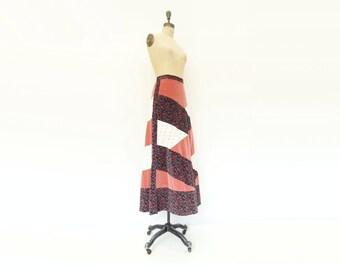 Vintage Maxi Skirt Velvet Lace Skirt 70s Patchwork Skirt Rose Velvet 1970s Maxi Skirt Patch Floral Skirt Bias Floral Maxi Boho 70s Skirt m