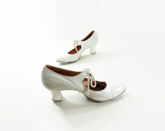 Vintage Tap Shoes, 40s White Mary Jane, 1940s Tap Shoes, 1940s Wedding Shoes, Vintage White Shoes, Size 6 White Shoes, 1940s Dance Shoes, 6