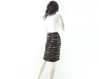 Vintage Pencil Skirt, 1980s Tribal Skirt, 80s Vintage Skirt, Black Pencil Skirt, South Western, Navajo Boho Skirt, Red, Emerald, Gold, small