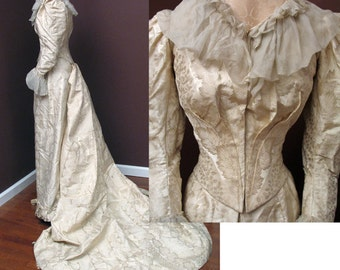 Victorian Early 1890s Ivory Silk Damask Wedding or Reception Gown SZ XS
