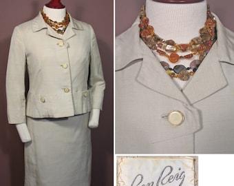 Vintage 1960s Oyster Silk 2 Pc Suit by Ben Reig SZ M
