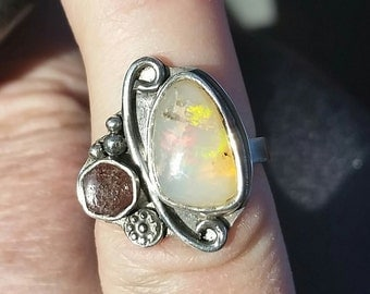 Ethiopian Opal, Welo Opal, Utah Red Beryl,Sterling Silver Ring Size 6 Handmade in the USA, Ready to ship