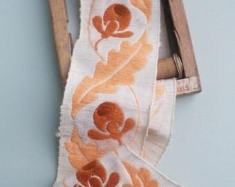Antique Braid 1920s Art Deco Cotton Vintage Trim Ribbon 20s WIDE acorns and oak leaves foliage wide cream vintage haberdashery furnishings